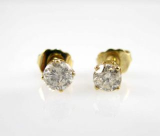 New Ladies Yellow Gold Diamond Stud Earrings 0 71ctw