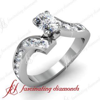 Swirl Channel Set 0.90 Ct Cushion Cut Diamond Engagement Ring VVS2 GIA