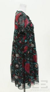 Diane Von Furstenberg Black, Teal & Red Floral Silk Chiffon Dress Size