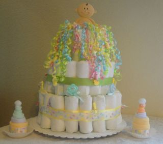 Diaper Cake 2 Washcloth Cupcakes Baby Shower Gifts Centerpieces