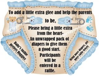 Unique Personalized Diaper Raffle Tickets Baby Shower Invitation