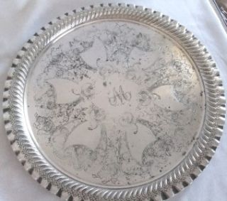 Victorian Silver Plated Tray by James Deakin Sons 12 K48