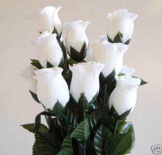 Artificial Silk White Dew Drop Raindrop Rose Bud Flower