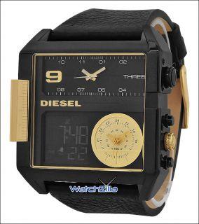 Diesel Mens Digital Black IP Leather Strap Stainless Steel Case New