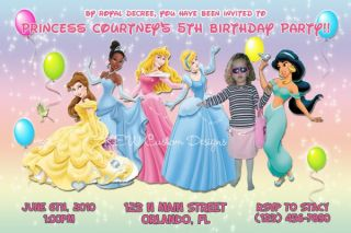 Disney Princess Cinderella Photo Birthday Invitations