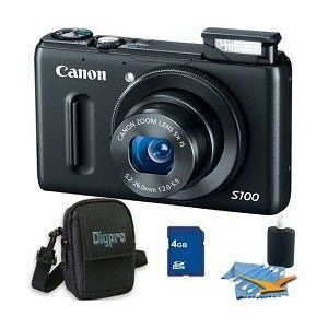 Canon PowerShot S100 12.1MP Digital Camera Bundle w/4GB Card, Case