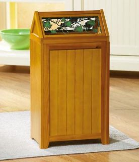 Ivy Kitchen Garbage Trash Can Bag Holder Wood Storage Maple New B0708