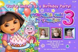 Custom DORA THE EXPLORER Birthday Invitations Thank You Cards