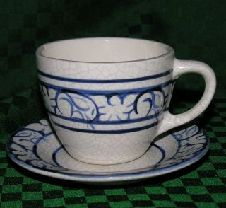 Dedham Pottery Cup and Saucer Rabbit 1978
