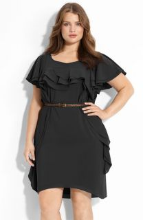 Julie Dillon BLACK Flutter Ruffled Dress Plus 18W MSRP 138 00