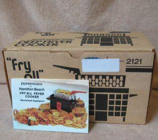 Vtg Hamilton Beach Dominion Mini Fry All Deep Fryer Cooker
