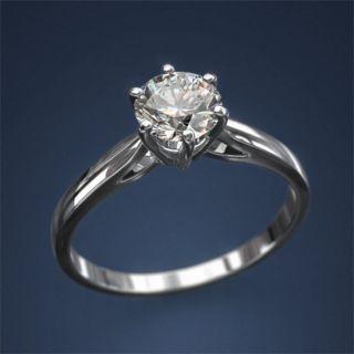 White Gold Diamond Solitaire Ring 1 25 Carat F SI1 14 K Wedding