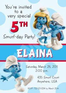 Smurfs Birthday Party Personalized Custom Invitation