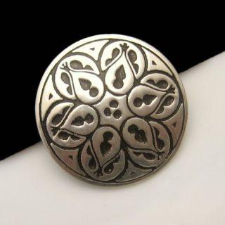 Pewter Vintage Brooch Pin Lovely Celtic Design Black Round