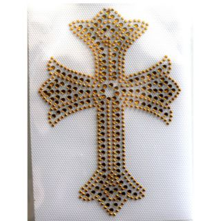 Rhinestone Iron on Transfer Hot fix Fashion design Gold Cross1