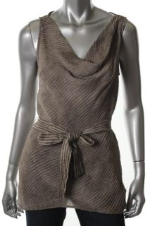 Lafayette 148 New Desiree Taupe Silk Sleeveless Cowl Neck Belted