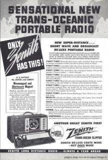 1942 Zenith Trans Oceanic Portable Radio Vintage Print Ad Short Wave