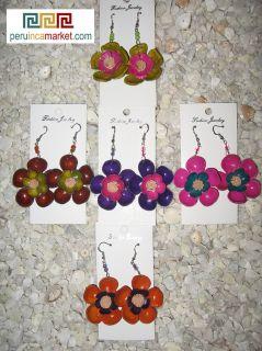 Pair Leather Earrings Purple Flower Unique Design