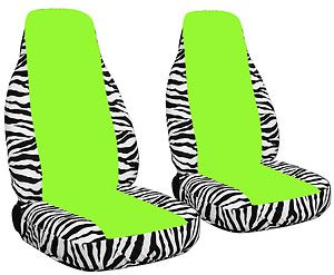 New Design Car Seat Covers Zebra White Lime Green Cool