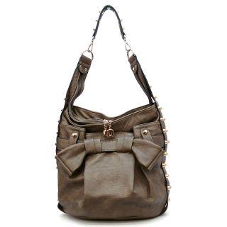 designer inspired handbag leather like material high polish gold tone