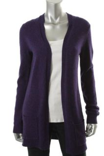 Designer Purple Marled Ribbed Trim Long Sleeves Open Front Cardigan