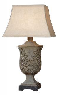 Pedara Slate Gray Leaf Design Indoor Outdoor Table Lamp