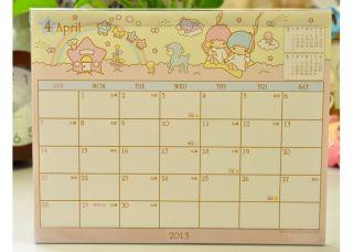 2013 Little Twin Stars Desk Calendar Plan 19 x 15 cm / 7.5 x 5.9 w