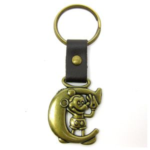 Disney Mickey Mouse Brass Key Ring Key Chain Letter C