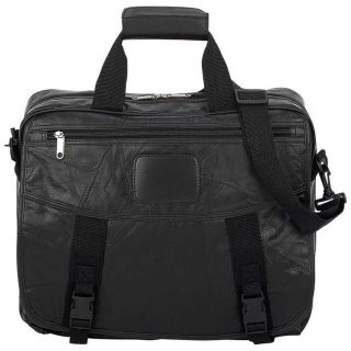 Black Leather Laptop Bag Computer Notebook Case HP Dell Sony Others