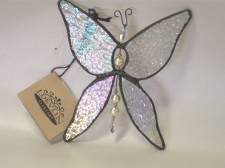 Devlin Glass Art Stained Clear Ice Iridized Butterfly Ornament