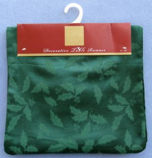 Lenox Holiday Holly Damask Green 90 Table Runner New