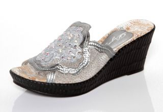 Womens Dezario Blossom Crystalized Silver Wedges Sandals 5 6 7 11