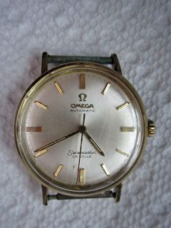 Vintage OMEGA Mens Seamaster DeVille Automatic 14K Gold Bezel Swiss