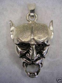 Devil Skull Pendant Charm in Sterling Silver