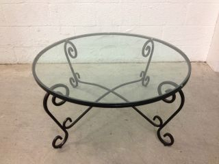 Wrought Iron Round 36 Diameter Black Glass Top Coffee Table