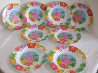 Set 8 Plastic Plates Pink Flamingo Tropical Decor Summertime Patio