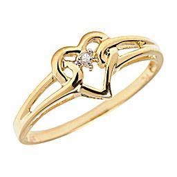 10K Yellow Gold Genuine Diamond Heart Promise Ring