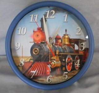 Novelty Train Wall Clock with Lights and Sound Red LED Light Hourly