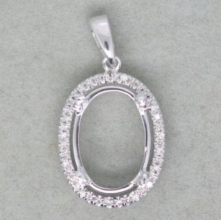 Solid 14k White Gold Natural Diamond Setting Semi Pendant Mount