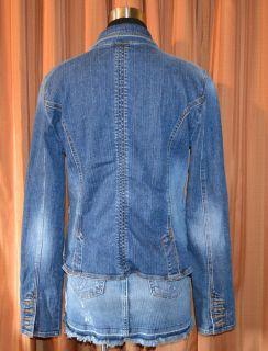 DKNY Jeans Blue Denim Jean Cotton Spandex Blazer Jacket Womens Ladies
