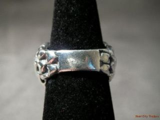 Dian Malouf Sterling Bold Hammmered Heart Ring Size 8