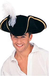 New Adult Pirate Hat Black Gold Trim Feather Halloween Costume