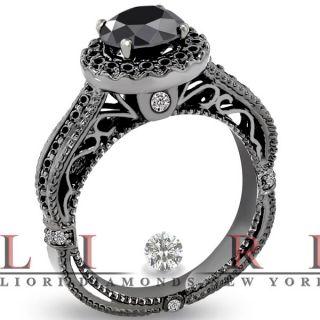 Carat Certified Natural Black Diamond Engagement Ring 14k Black Gold