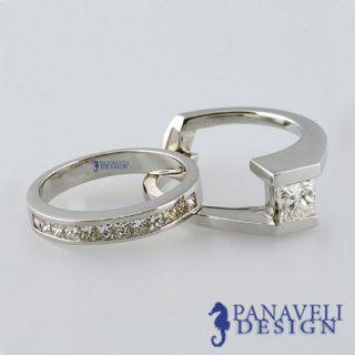 45 Ct Princess Cut Diamond Engagement Ring Wedding Band 18K White