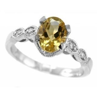Yellow Citrine Diamond 14k White Gold Engagement Cocktail Ring Vintage