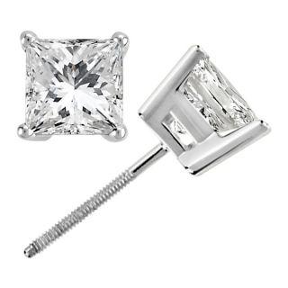 25ct Princess Cut Diamond Studs Earrings White Gold
