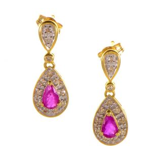 14k Yellow Gold Ruby Diamond Drop Earrings