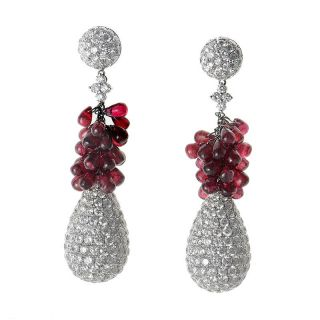 18K White Gold Diamond Ruby Drop Earrings