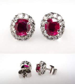 Natural Ruby & Diamond Stud Earrings 14K White Gold skuwm8000