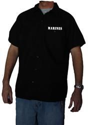 Marines Work Shirt Brand New Short Sleeve Button Up Black